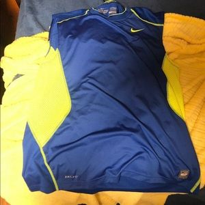 Men's Nike Pro Combat Tank Top Fitted  Blue L